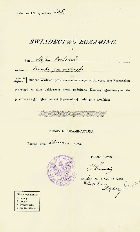 Certificate of Stefan Korboński's first examination at the law faculty, 23 June 1922