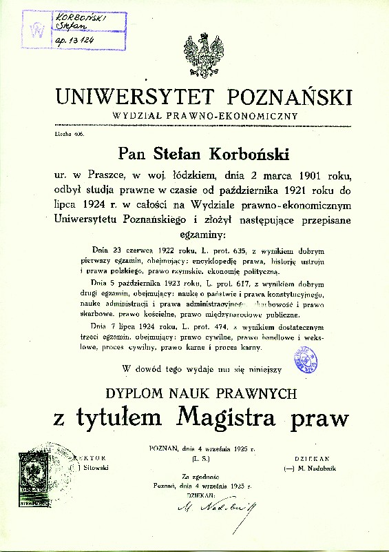 Stefan Korboński's Masters Diploma from the Law and Economics Department of the University of Poznań dated 4 September 1925