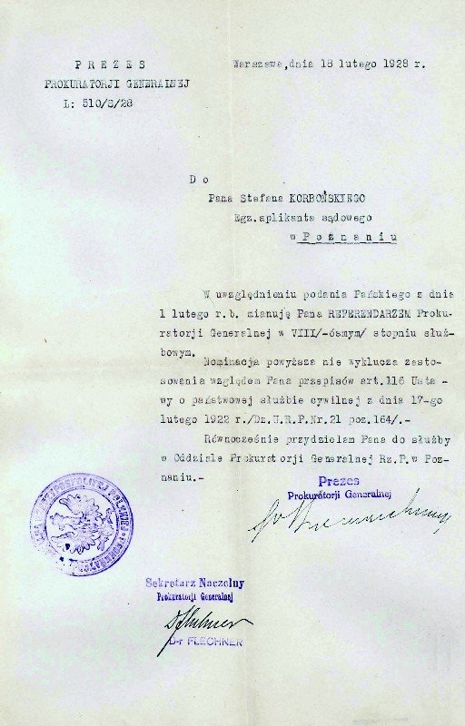 Letter from the Head of the Office of Attorney General in Warsaw dated 18 February 1928