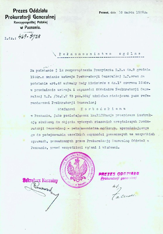 Letter from the Head of the Office of Attorney General Poznań Branch dated 10 March 1928