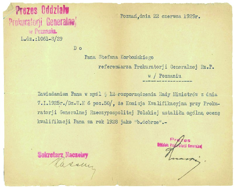One of the official letters from the law office of Dr Zygmunt Graliński and Stefan Korboński in Warsaw